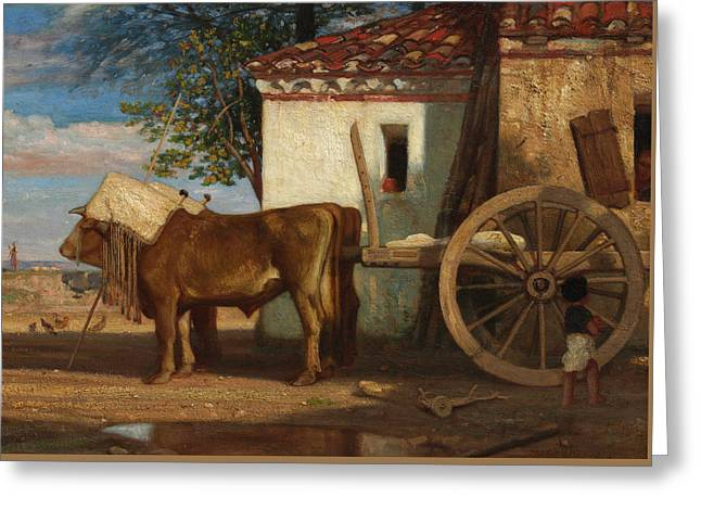 Oxen Before A Farmhouse At Le Verrier, 1853 Greeting Card