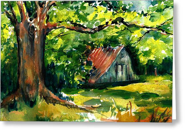 Ozarks Barn In Boxley Valley - Late Summer Greeting Card