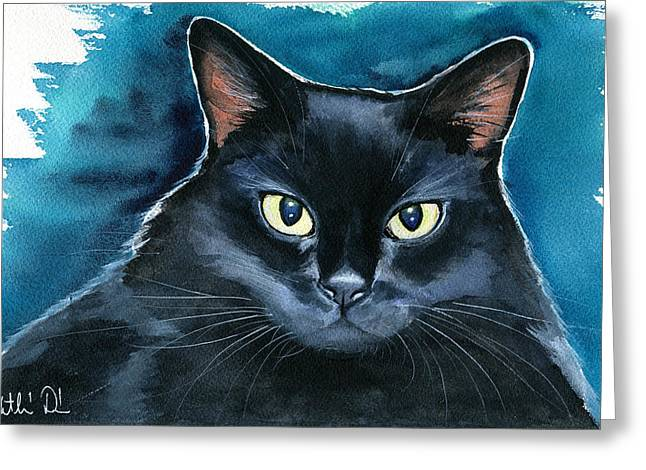 Ozzy Black Cat Painting Greeting Card