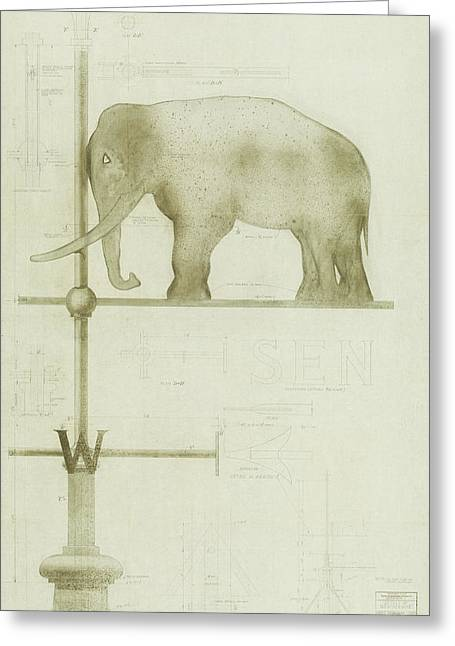 Pachyderm House, Philadelphia Zoo, Detail Of Weather Vane Greeting Card
