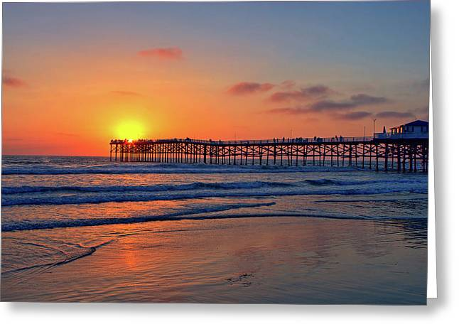 Pacific Beach Pier Sunset Greeting Card