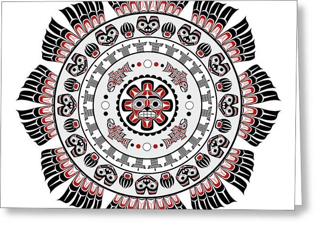 Pacific Northwest Native American Art Mandala Greeting Card