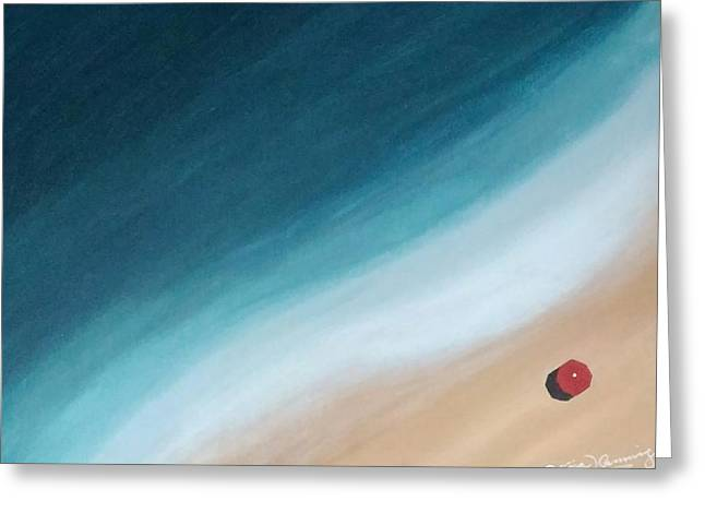 Pacific Ocean And Red Umbrella Greeting Card