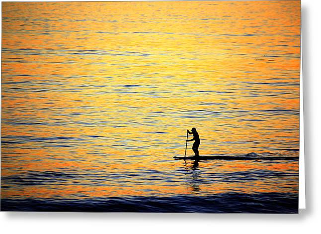Greeting Card featuring the photograph Paddle Boarder Malibu by John Rodrigues