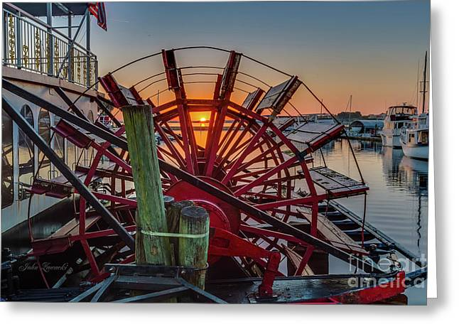 Paddle Wheel Sunrise Greeting Card