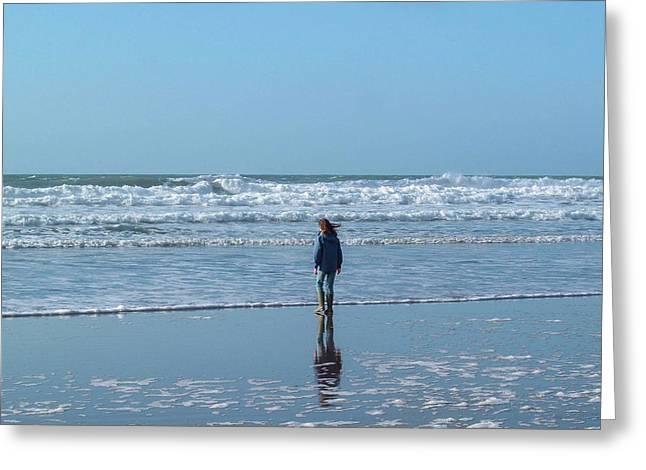 Paddling At Sandymouth Beach North Cornwall Greeting Card