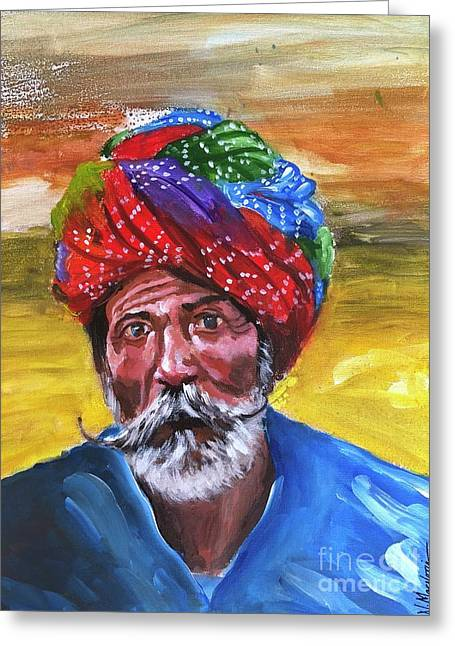 Greeting Card featuring the painting Pagdi by Nizar MacNojia