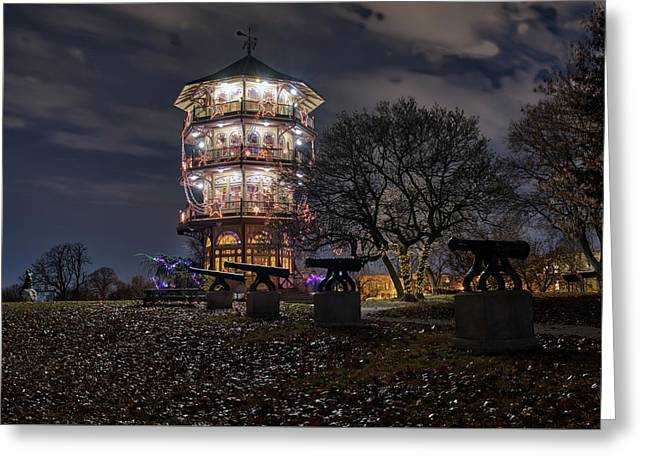 Greeting Card featuring the photograph Pagoda And The Canons by Mark Dodd