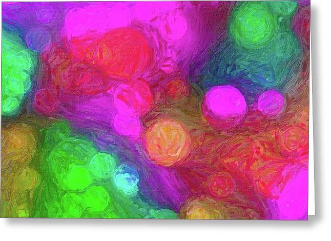 Painted Bokeh Impasto Pinkish Purple Greeting Card