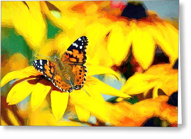 Painted Lady Butterfly Van Gogh Greeting Card
