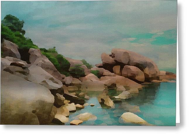 Painted Rocks At Full Tide Greeting Card
