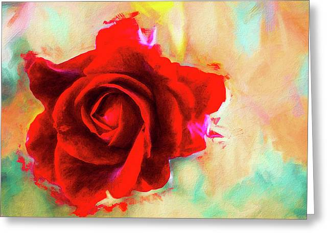 Painted Rose On Colorful Stucco Greeting Card