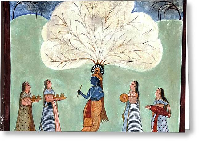 Painting Fresco Of Krishna In The Women's Zenana Greeting Card
