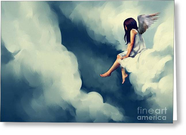 Painting Of Beautiful Angel Sitting On Greeting Card
