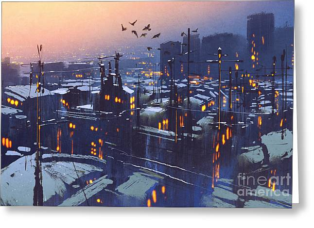 Painting Of City Snowy Winter Greeting Card