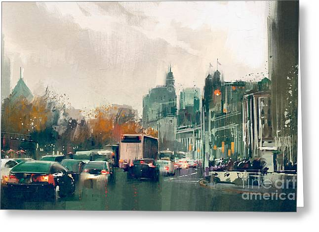 Painting Of City Street View With Greeting Card
