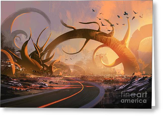 Painting Of Fantasy Landscape With A Greeting Card