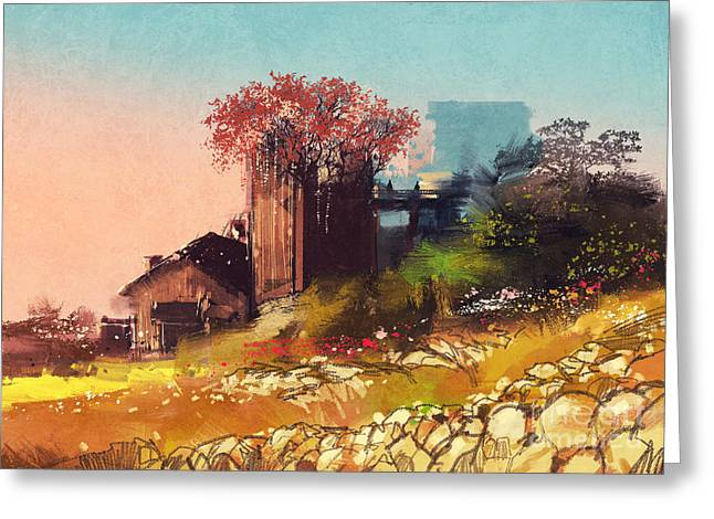 Painting Of Farm House On The Country Greeting Card