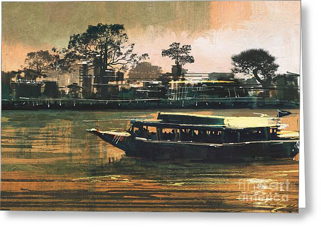 Painting Of Ferry Carries Passengers On Greeting Card