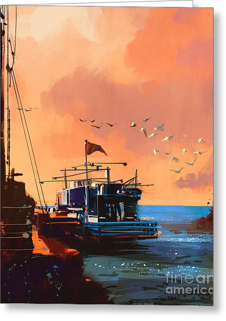 Painting Of Fishing Boat In Port At Greeting Card
