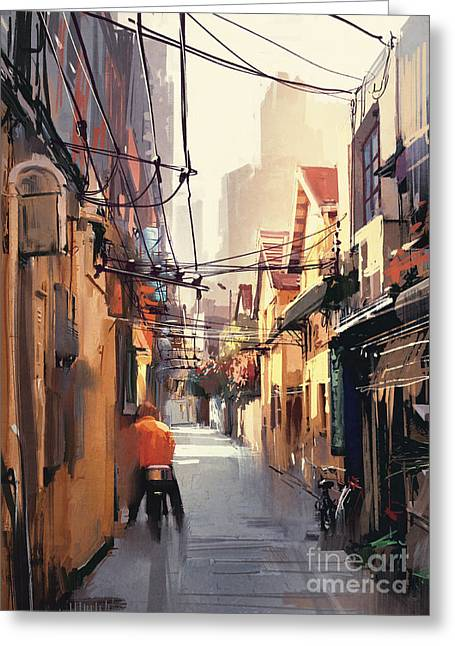 Painting Of Narrow Alleyway In Old Greeting Card