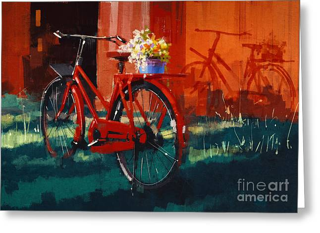 Painting Of Vintage Bicycle With Bucket Greeting Card