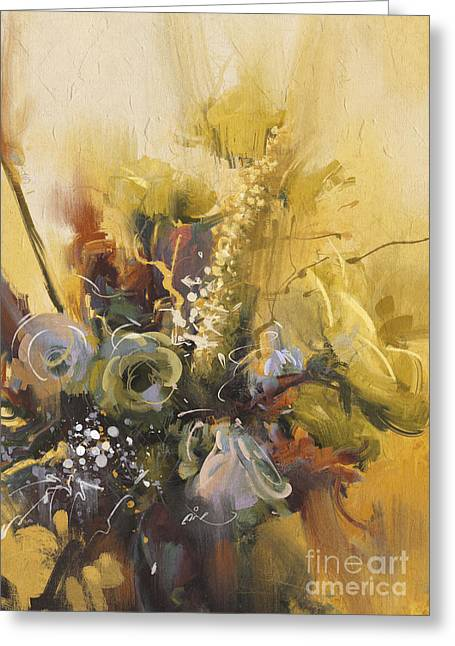 Painting Showing Bouquet Of Beautiful Greeting Card