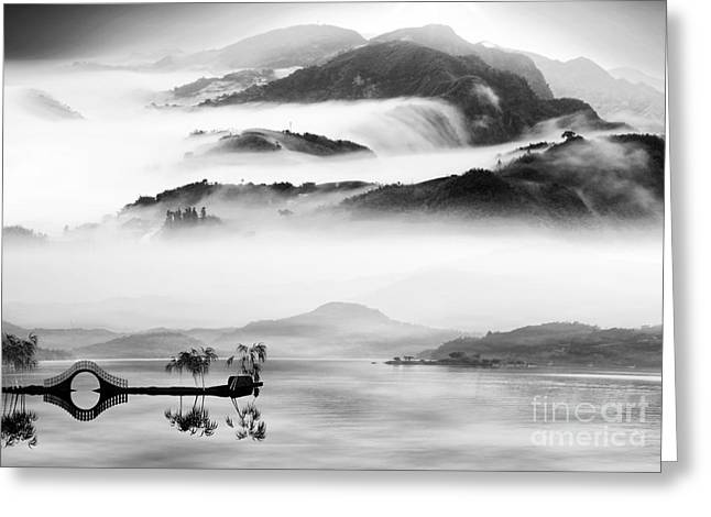 Painting Style Of Chinese Landscape For Greeting Card