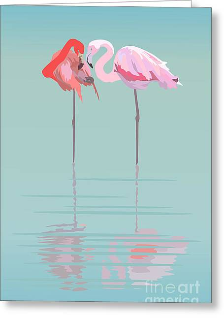 Pair Of Flamingos In The Pond Greeting Card