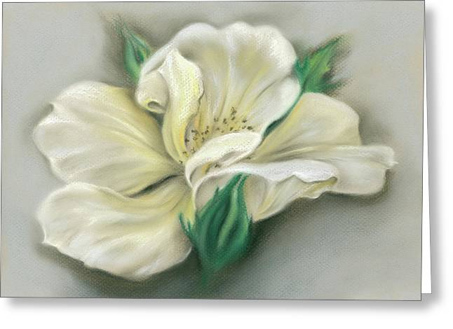 Greeting Card featuring the pastel Pale Yellow Rose And Green Rosebuds by MM Anderson