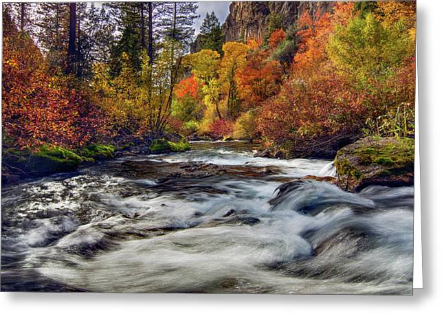 Palisades Creek Autumn Light Greeting Card by Leland D Howard