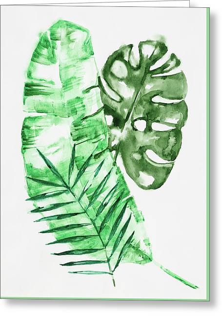 Palm Leaves-banana, Coconut, Monstera Greeting Card