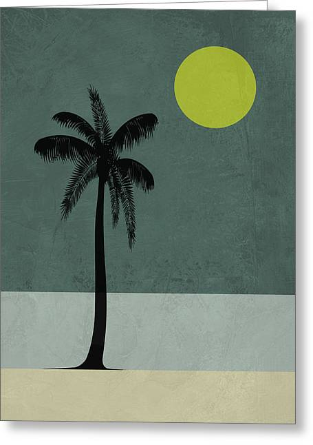 Palm Tree And Yellow Moon Greeting Card