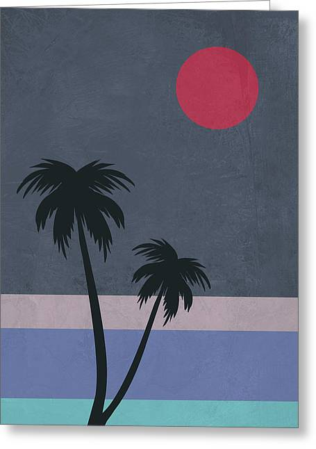 Palm Trees And Red Moon Greeting Card