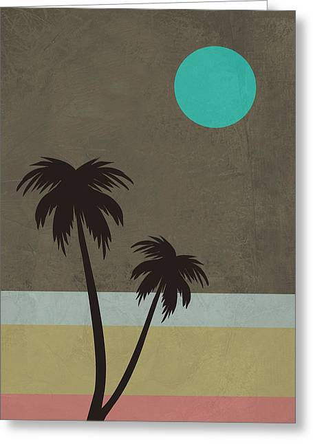 Palm Trees And Teal Moon Greeting Card