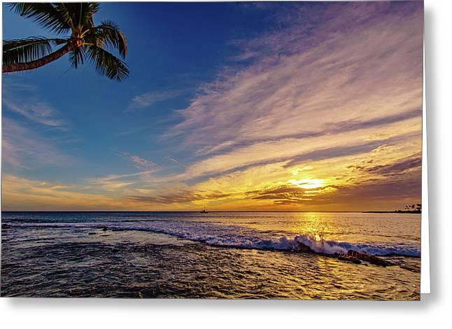 Palm Wave Sunset Greeting Card