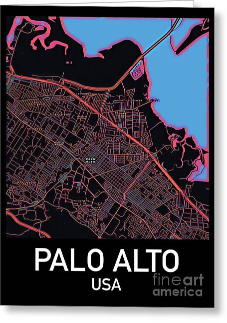 Palo Alto City Map Greeting Card
