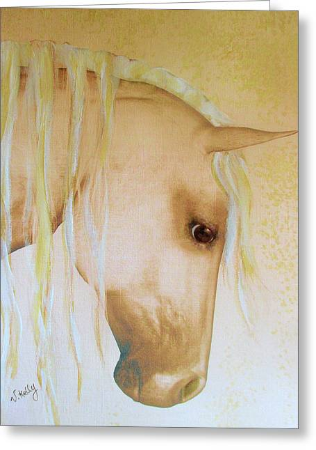 Greeting Card featuring the painting Palomino Head Study by Valerie Anne Kelly