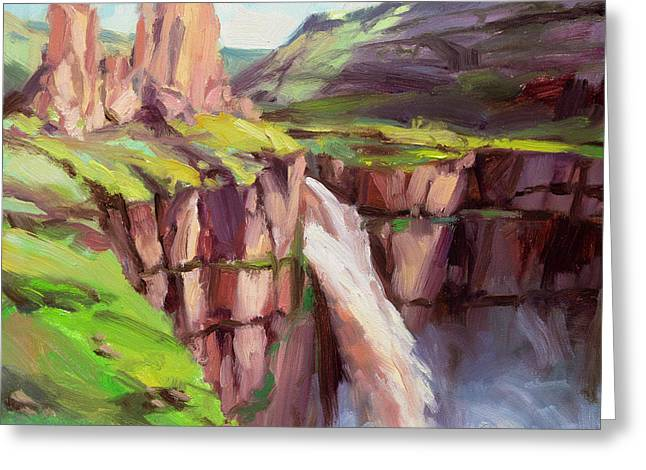 Greeting Card featuring the painting Palouse Falls Rush by Steve Henderson