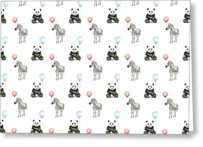Panda And Zebra With Balloons Pattern Greeting Card
