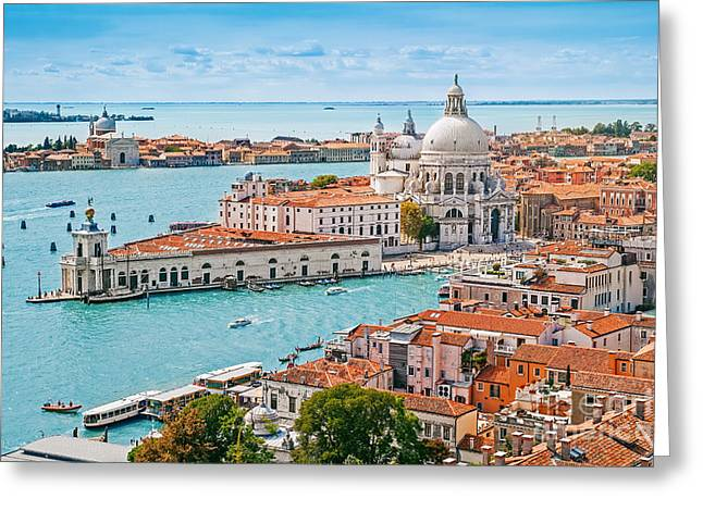 Panoramic Aerial Cityscape Of Venice Greeting Card