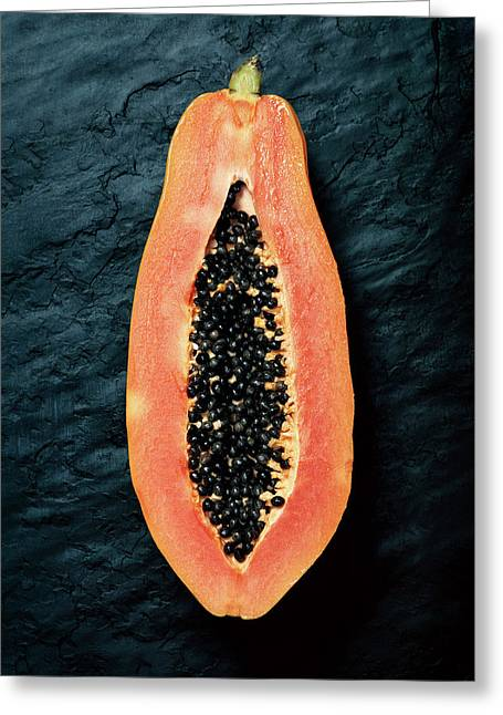 Papaya Cross-section On Dark Slate Greeting Card