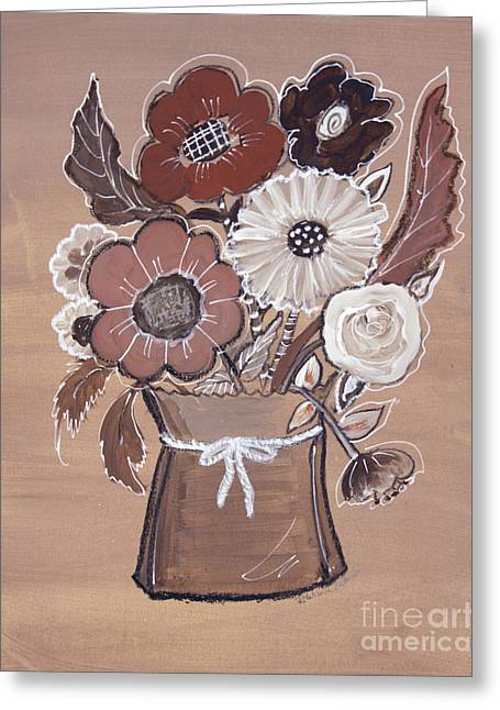 Greeting Card featuring the painting Paper Bag Bouquet by Robin Maria Pedrero