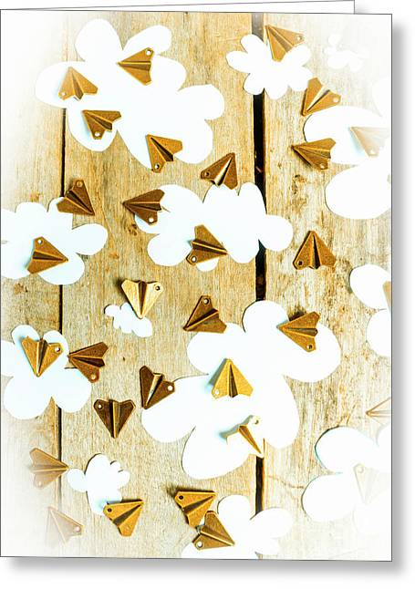 Paper Clouds And Metal Planes Greeting Card