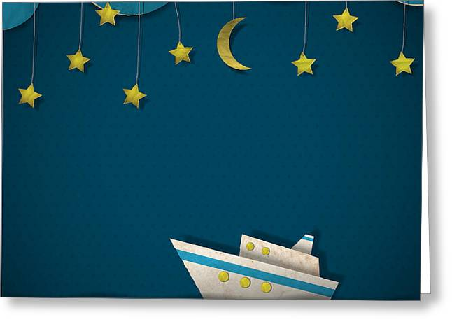 Paper Cruise Liner At Night. Creative Greeting Card