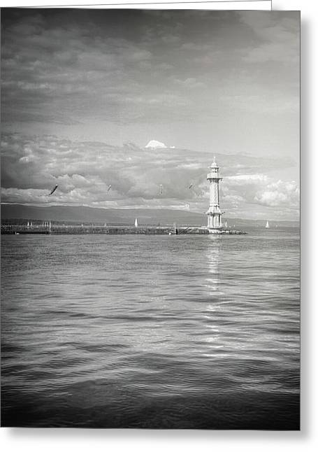 Paquis Lighthouse Geneva Black And White  Greeting Card