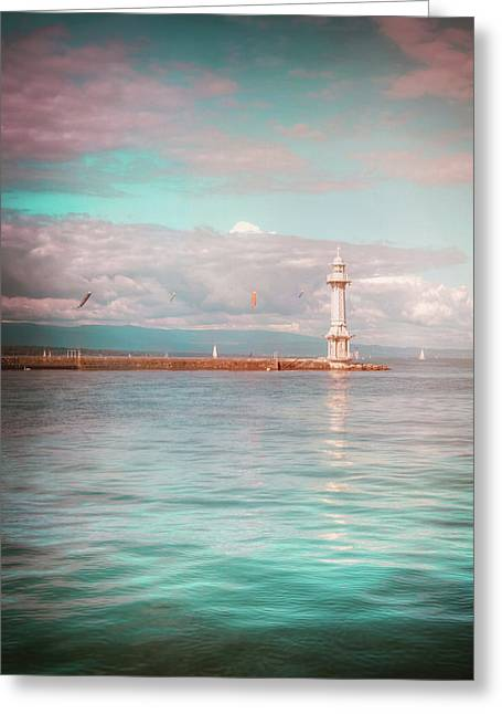 Paquis Lighthouse Geneva Greeting Card