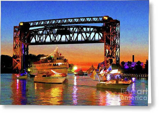 Parade Of Lighted Boats Greeting Card