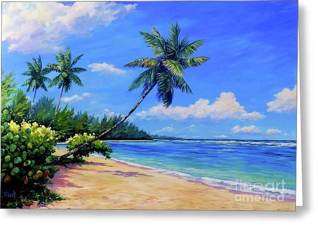 Paradise Palms Greeting Card by John Clark