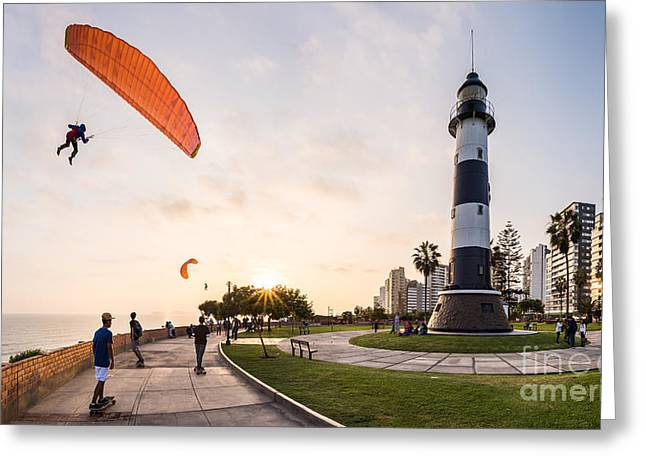 Paragliding In Miraflores, Peru Greeting Card